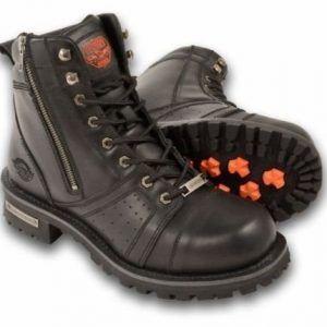 Botas para Moto para hombre Pure Piel cierre Plain Toe Negro