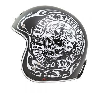 TORC T50 Route 66 Smoke Skull Lucky 13 - Casco para moto retro